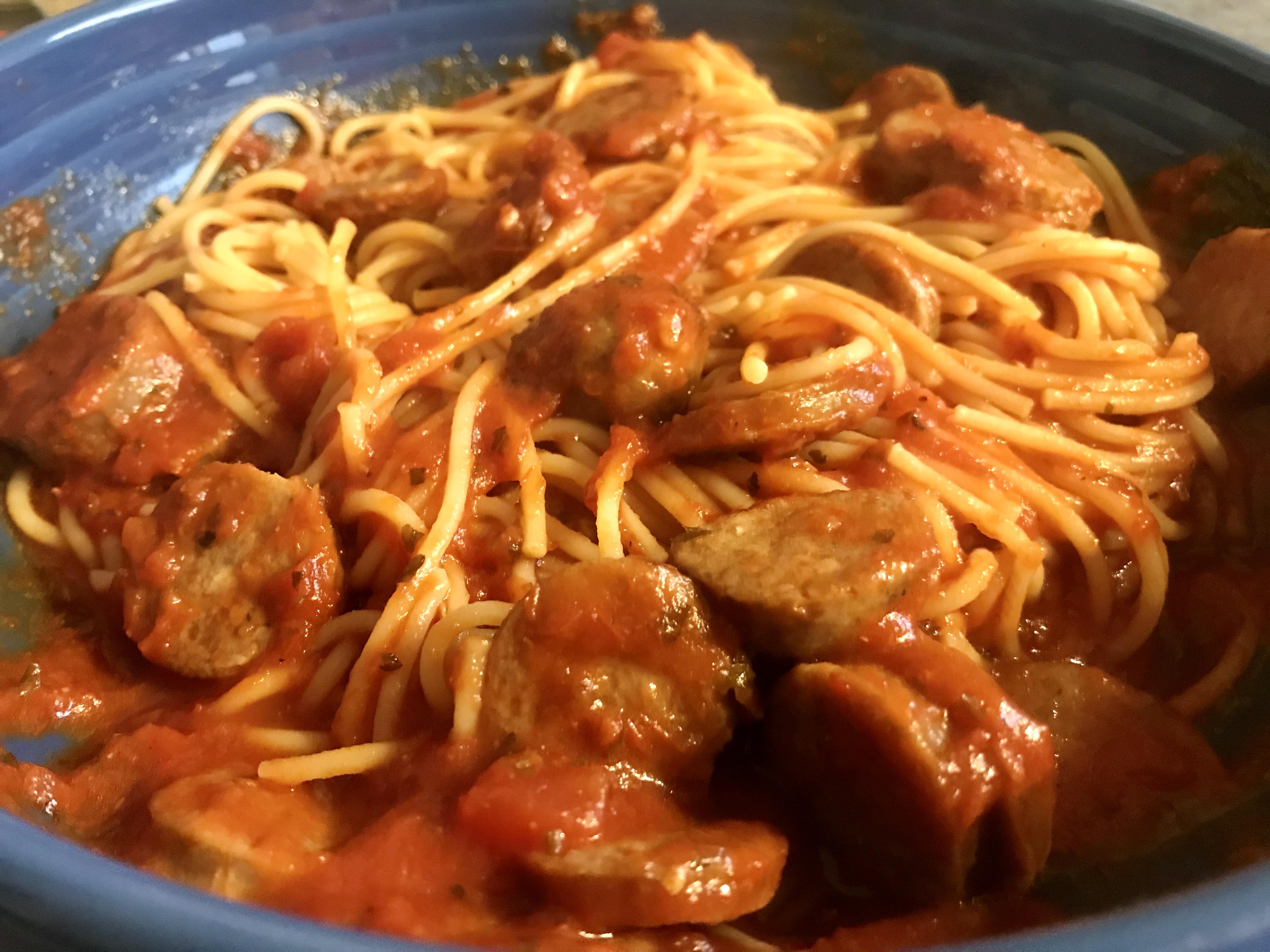 Lamb bratwurst pasta